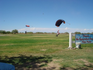 We even watched skydivers!
