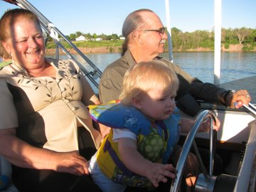 caleb driving boat